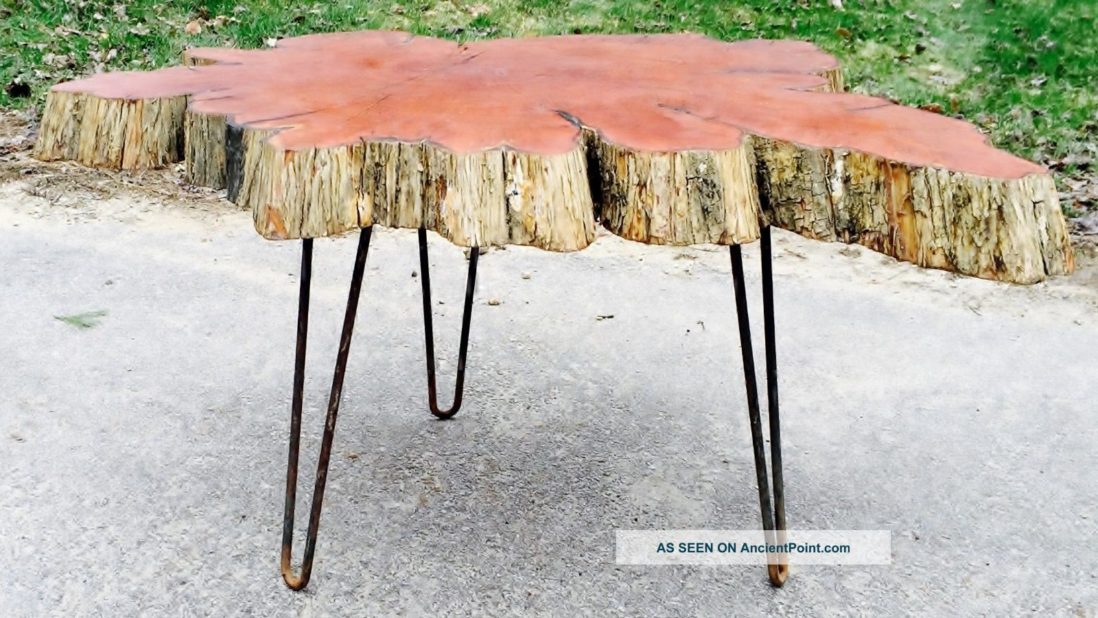 Vintage Mid Century Live Edge Cypress Wood 3 Slab Coffee Table