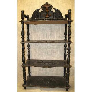 Antique Spanish American War Era Naval King Alfonso Xii Carved Etagere C.  1880 photo