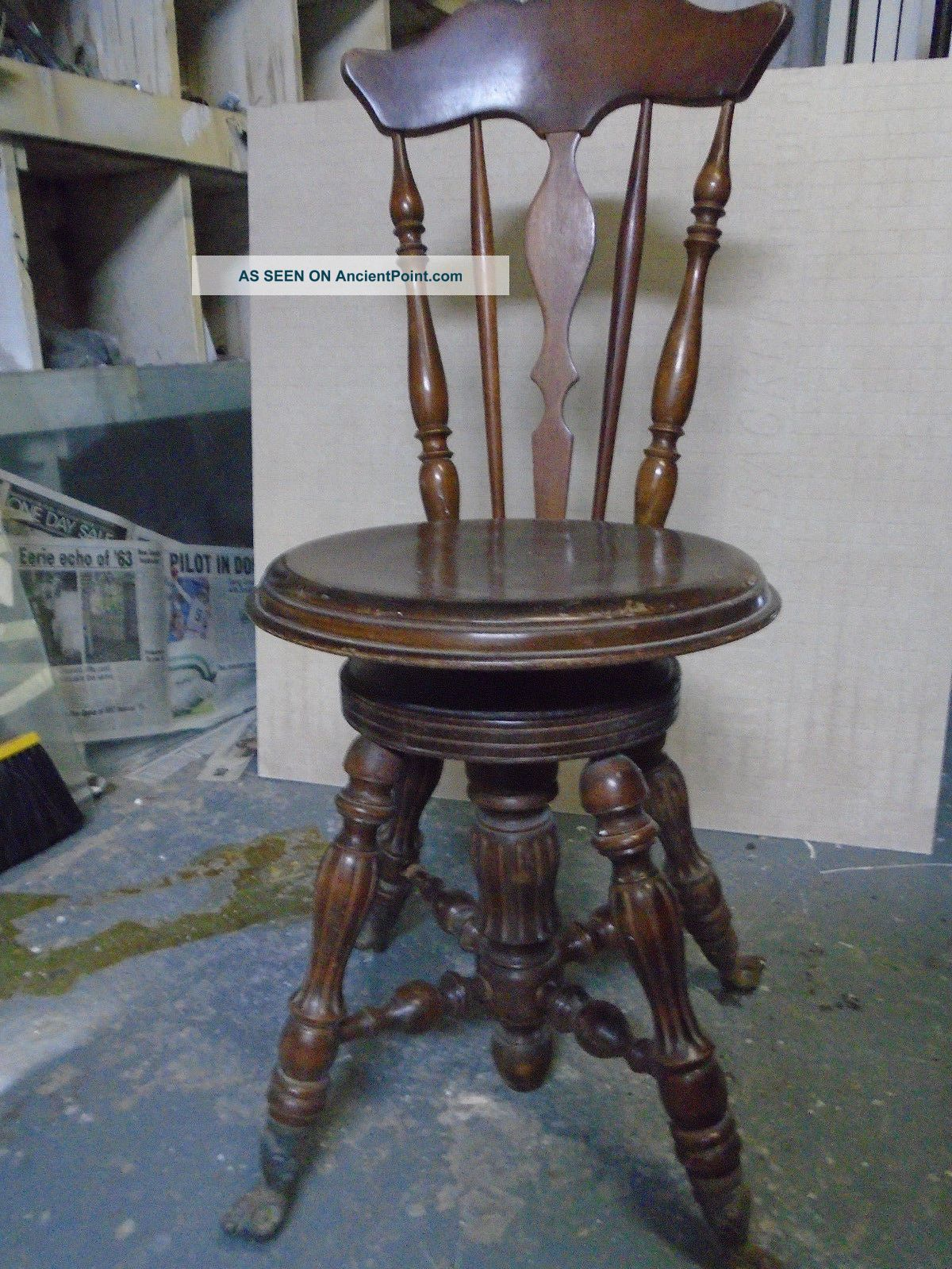 Vintage Antique Piano Chair Spindell Back Claw Feet 1900's Excell. Cond. - Vintage Antique Piano Chair Spindell Back Claw Feet 1900's Excell