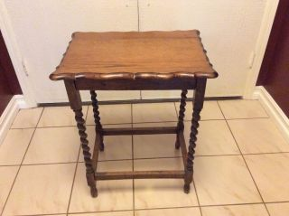 Antique Oak Barley Twist Night Stand English End Table Scalloped Edges Vintage photo
