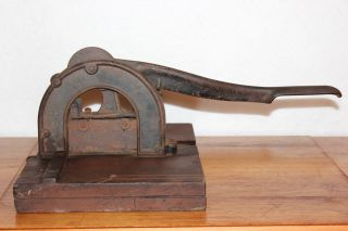 Antique Primitive Country Store Tobacco Cutter Tool Cast Iron / Wood photo
