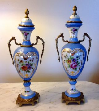 French 19th/20th C Sevres Robin Egg Blue Porcelain Painted Urns Vases photo