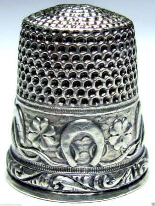 Antique Stern Bros Sterling Silver Lucky Thimble Horse Shoe & 4 Lleaf Clover Sz8 photo