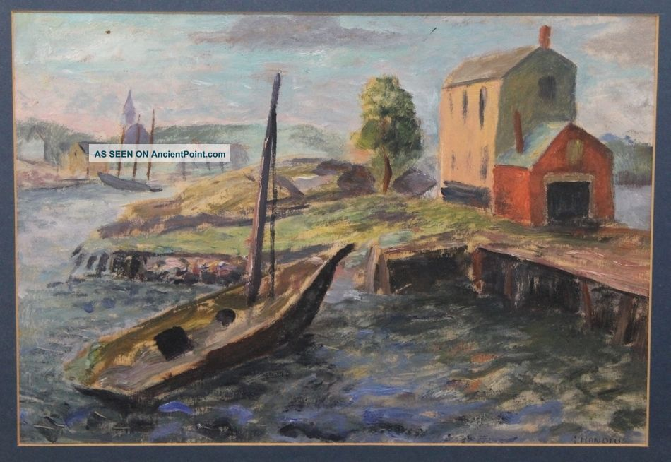 Vintage Gerrit Hondius Provincetown Ma Boat Harbor Oil Painting Nr Other Maritime Antiques photo