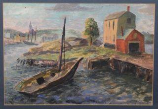 Vintage Gerrit Hondius Provincetown Ma Boat Harbor Oil Painting Nr photo