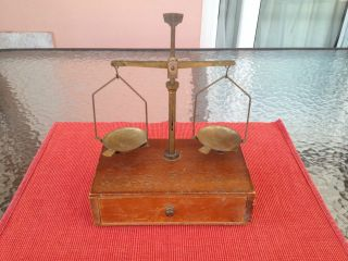 Vintage Rex Apothecary Balance Brass Scale With Wooden Base.  No Weights. photo