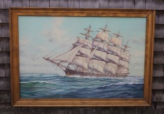 Vintage Bedford Humbero Da Silva Fernandes Clipper Ship Oil Painting photo