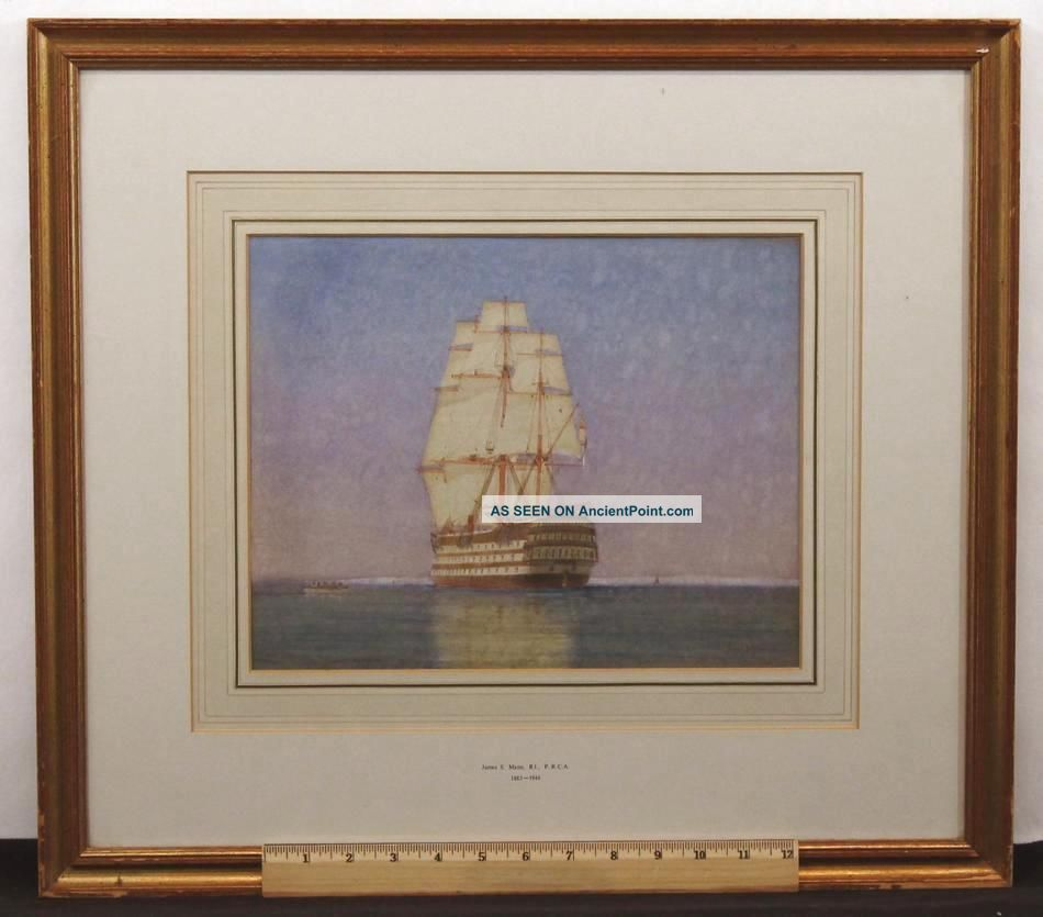 Antique James Mann Watercolor Painting,  18thc British Man O War Frigate Ship Nr Other Maritime Antiques photo