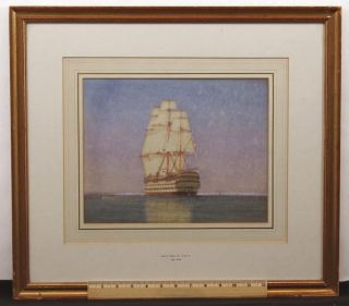 Antique James Mann Watercolor Painting,  18thc British Man O War Frigate Ship Nr photo