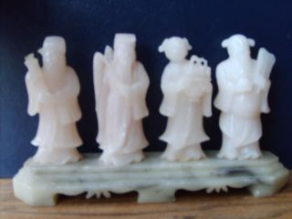 Antique Chinese Hand Carved Figures In White Hardstone. photo