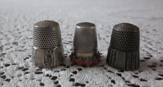 3 Vintage Antique Sterling Silver Thimbles Sewing Simons photo