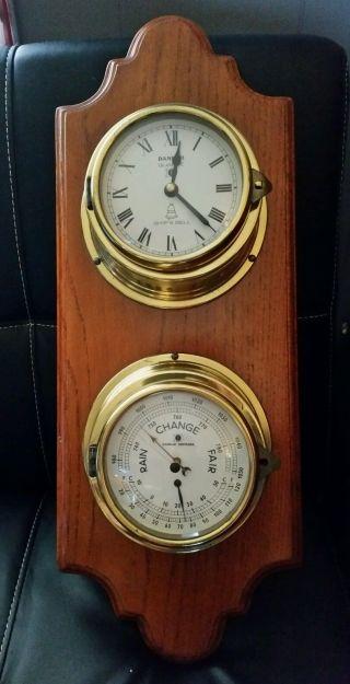 Vintage Danbar Ship ' S Bell Maritime Brass Quartz Clock And Barometer photo