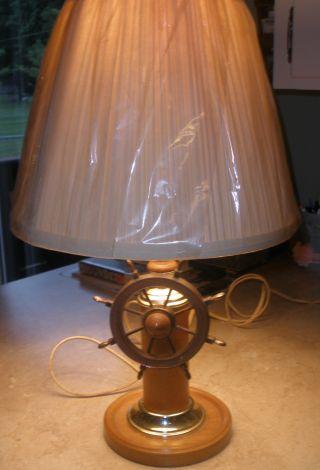 Vintage Ship Wheel Table Lamp Nautical Wood photo
