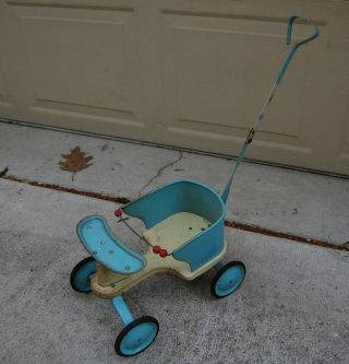 Vintage Metal And Wood Toy Doll Baby Stroller Carriage,  Similar To Taylor Tot photo