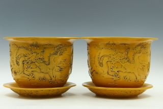 Fine Chinese A Pair Yellow Glaze Porcelain Carved Dragon Flowers Pot photo