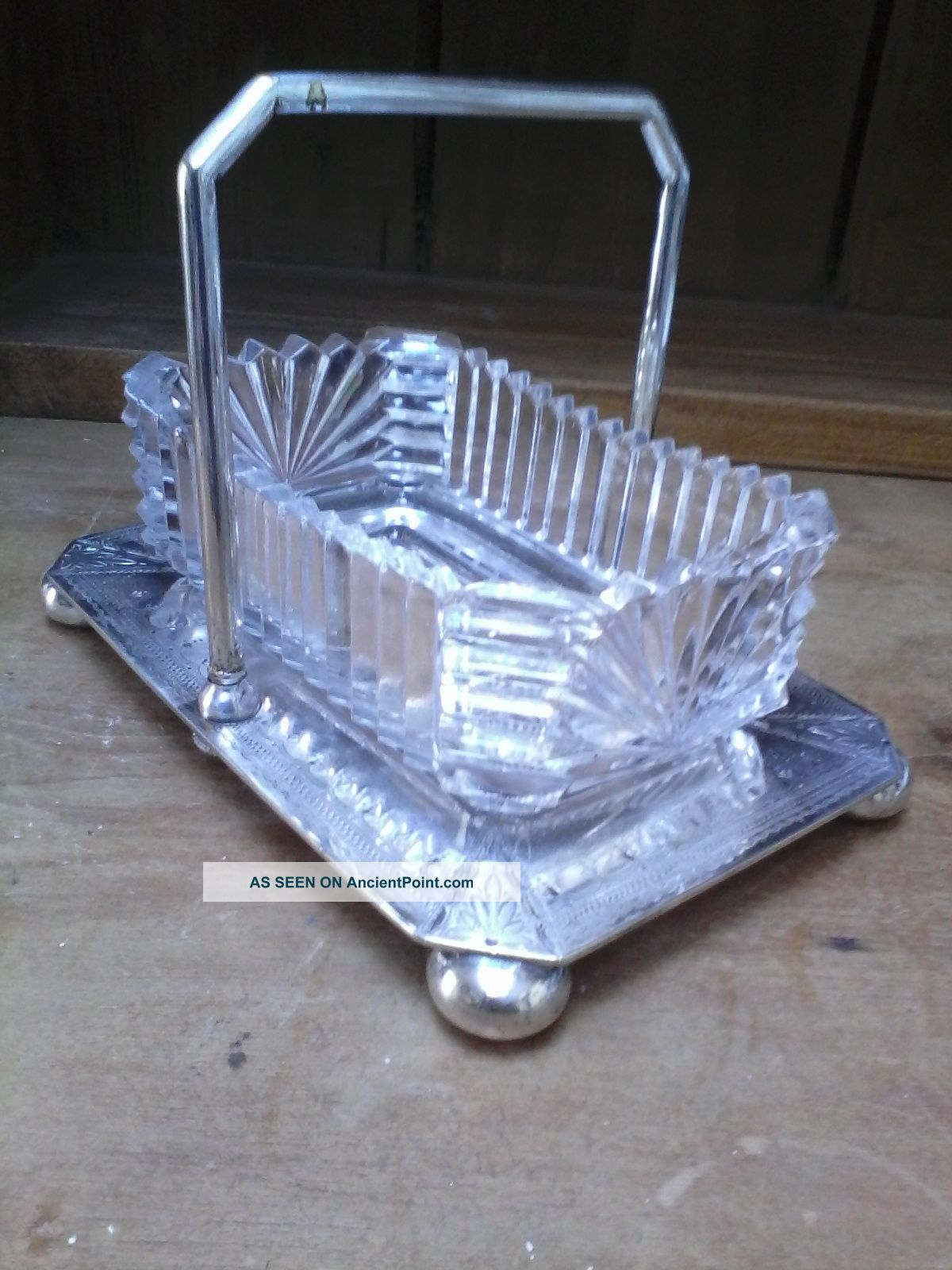 A Benetfink,  London Antique Silve Plate Condiment Holder With Pressed Glass Dish Dishes & Coasters photo