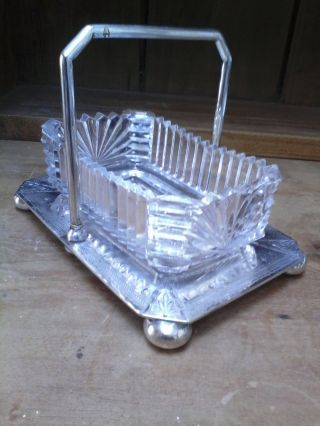 A Benetfink,  London Antique Silve Plate Condiment Holder With Pressed Glass Dish photo