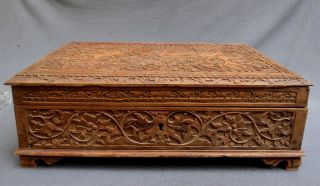 Wood Carved Box With A Decor Of Figures Indonesia,  Early 20th.  Century photo