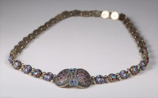 1880 Russian 84 Silver Gilt & Cloisonne Belt 198.  447 Gms 38 Sections photo