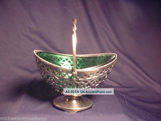 Antique Pairpoint Silver Plated Basket With Green Art Glass Insert Baskets photo