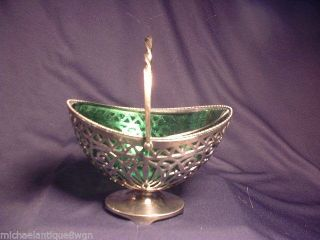 Antique Pairpoint Silver Plated Basket With Green Art Glass Insert photo