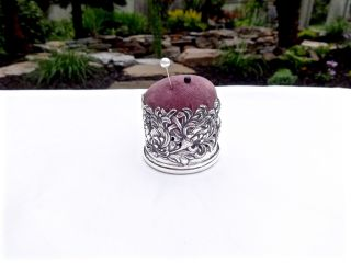 Antique George Shiebler Chrysanthemum Sterling Silver Pin Cushion,  Repousse photo