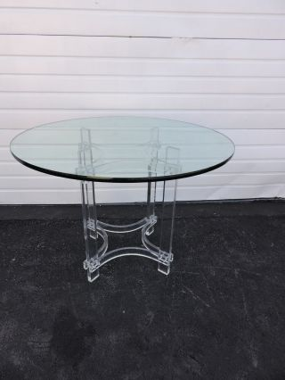 Mid - Century Modern Lucite & Chrome Glass - Top Dining Table / Dinette Table 6688 photo