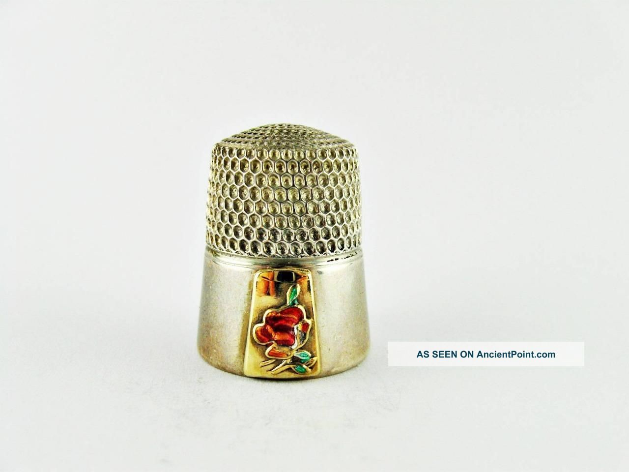 Vintage Simons Bros.  Sterling Silver,  Gold & Enamel Rose Collector Thimble Thimbles photo