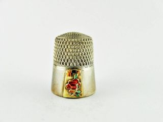 Vintage Simons Bros.  Sterling Silver,  Gold & Enamel Rose Collector Thimble photo