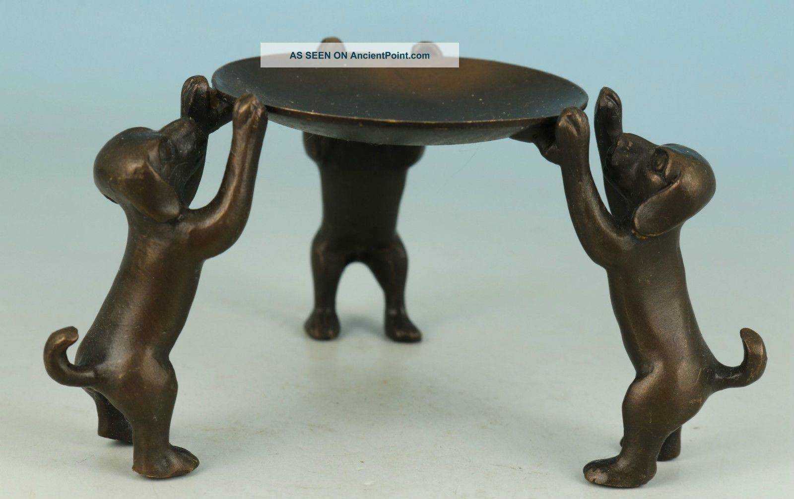 Lovely Chinese Old Bronze Carved Collect Handwork Dog Statue Oil Lamp Ornament 20th Century photo
