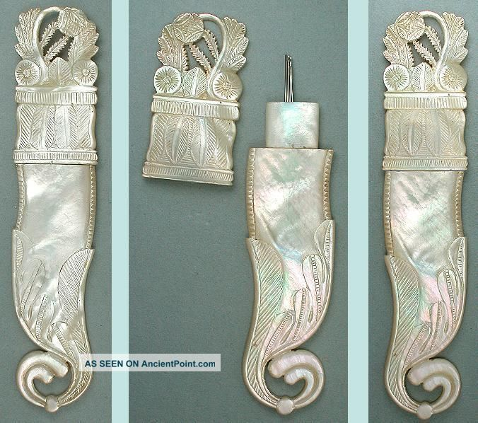 Magnificent Antique Palais Royal Mother Of Pearl Needle Case Circa 1820 Needles & Cases photo