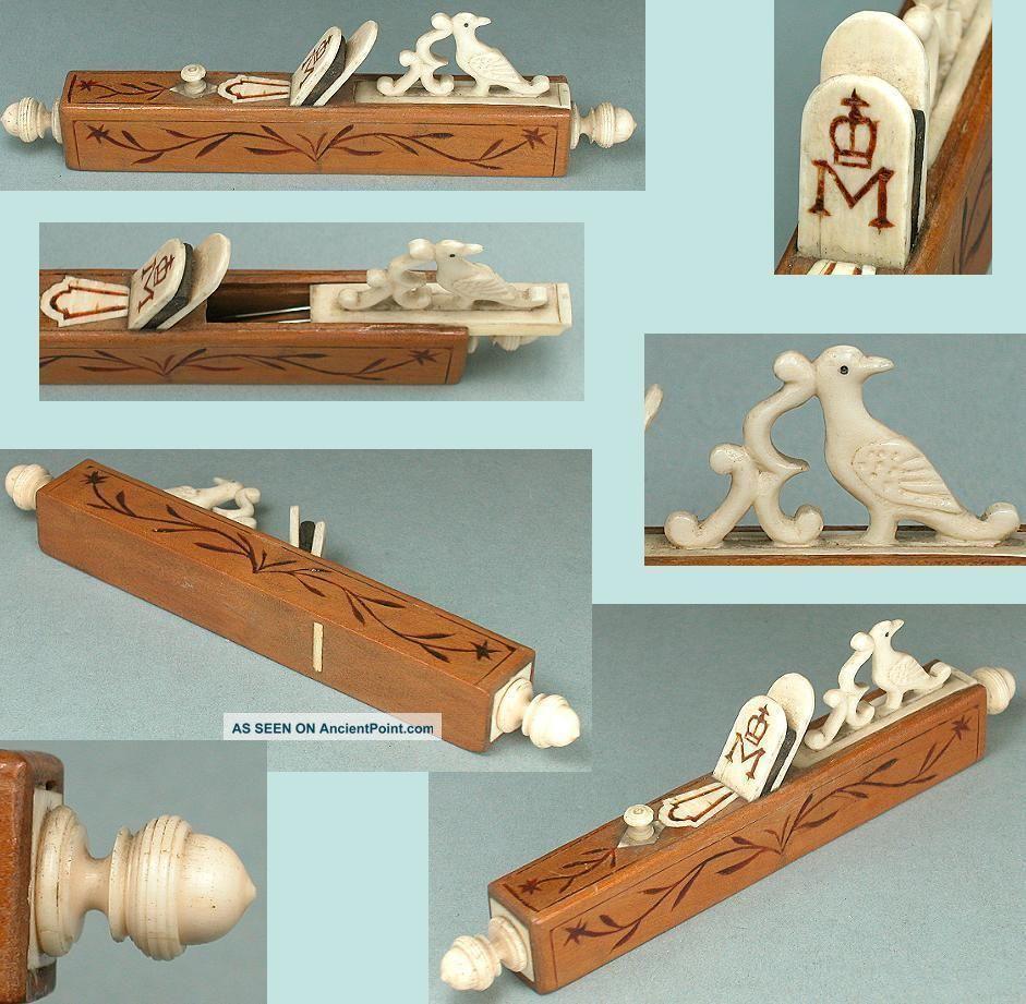 Rare Antique Figural Needle Case Continental Circa 1820 Needles & Cases photo