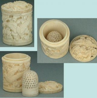 Antique Carved Bone Box With Child ' S Thimble Canton Export Circa 1830 photo
