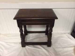 Antique English Dark Oak Foot Stool Bench Plant Stand Small Table photo