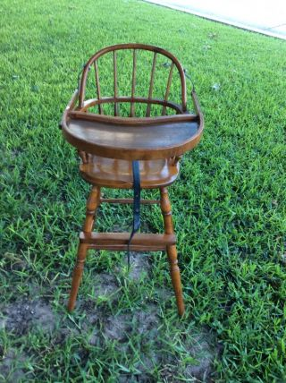 Antique Vintage Wooden 1930 Nichols & Stone Windsor Baby High Chair Very Rare photo