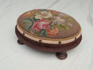 Antique Old Needlepoint Oval Bench Foot Stool Footstool photo