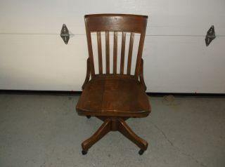 Antique Swivel Oak Office/desk Chair photo