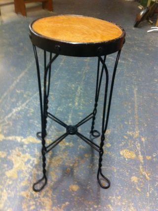 Vintage Twisted Metal Stool Ice Cream Parlor Style Wood Seat Pierce Ind Ny photo