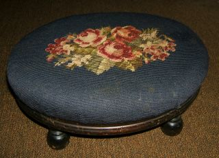Victorian Oval Walnut Needlepoint Foot Stool Red Roses Shabby Vintage F.  B.  M.  Co photo