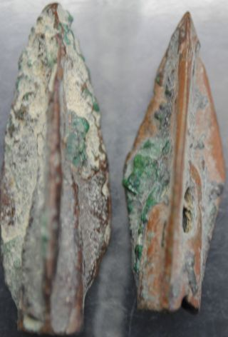 Two Ancient Persian Bronze Age Period Arrow Heads 2000 Bc ' photo
