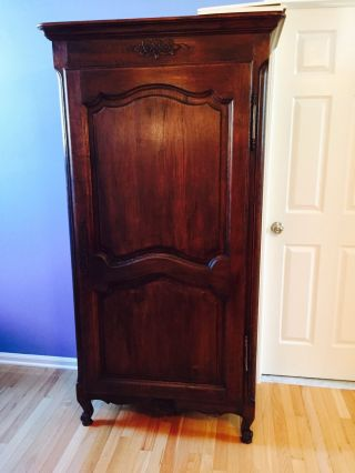 Antique French Oak Armoire Wardrobe Single Door Rustic photo