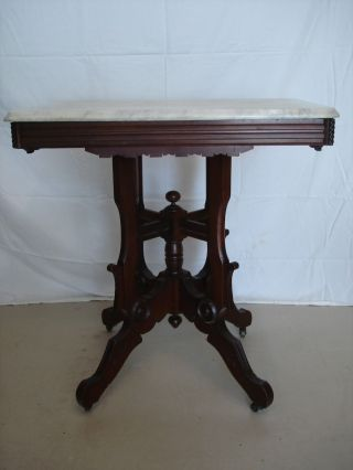 Authentic 19th C Marble Top Victorian Walnut Parlor Table,  Antique photo