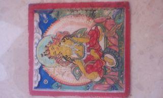 Mongolian Buddhist Thangka Paint 18 - 19 Century photo