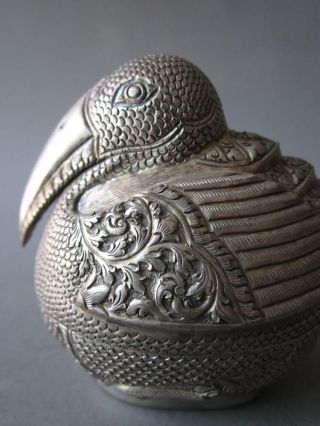 An Repousse Silver Box Of A Toucan,  Cambodia T90 photo