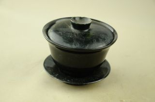 19th Antique Chinese Jade Cup Qing Dynasty Jade Tray And Cover photo