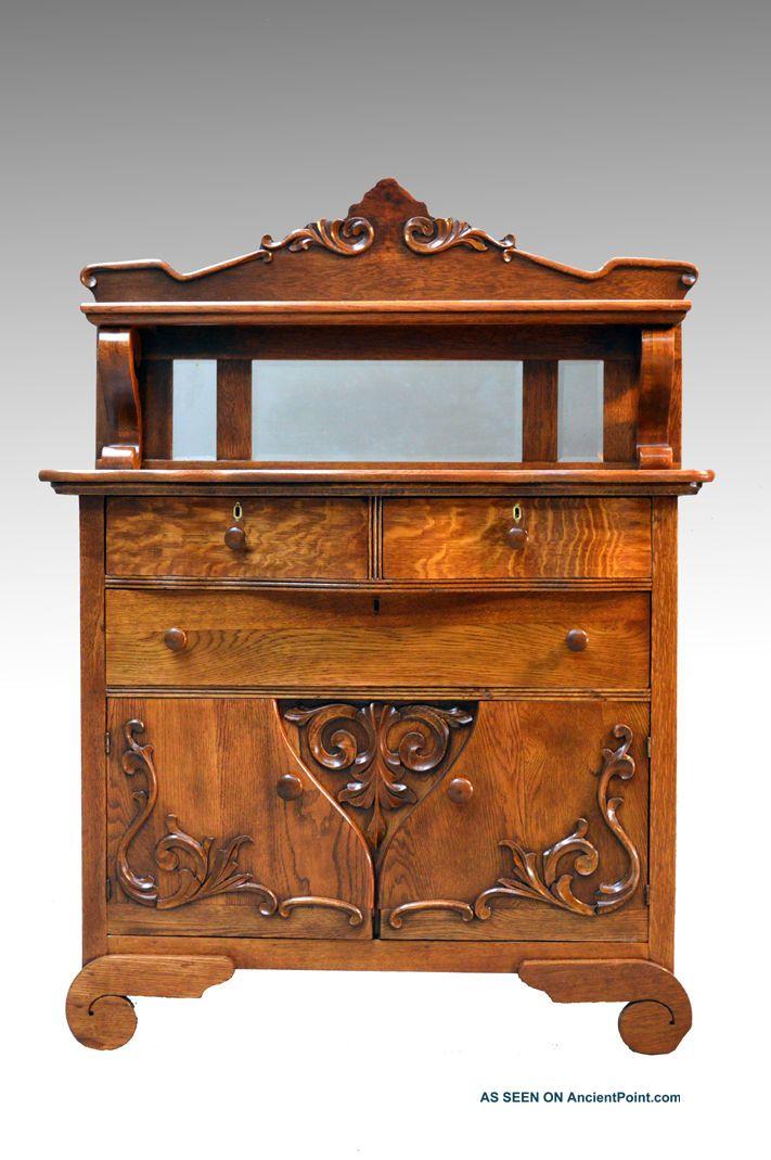 16732 Antique Oak Carved Server Sideboard Buffet 1900-1950 photo