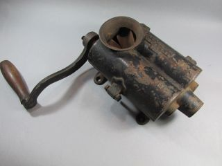 Antique 1859 Table Top Meat Grinder Cast Iron Sausage Stuffer photo