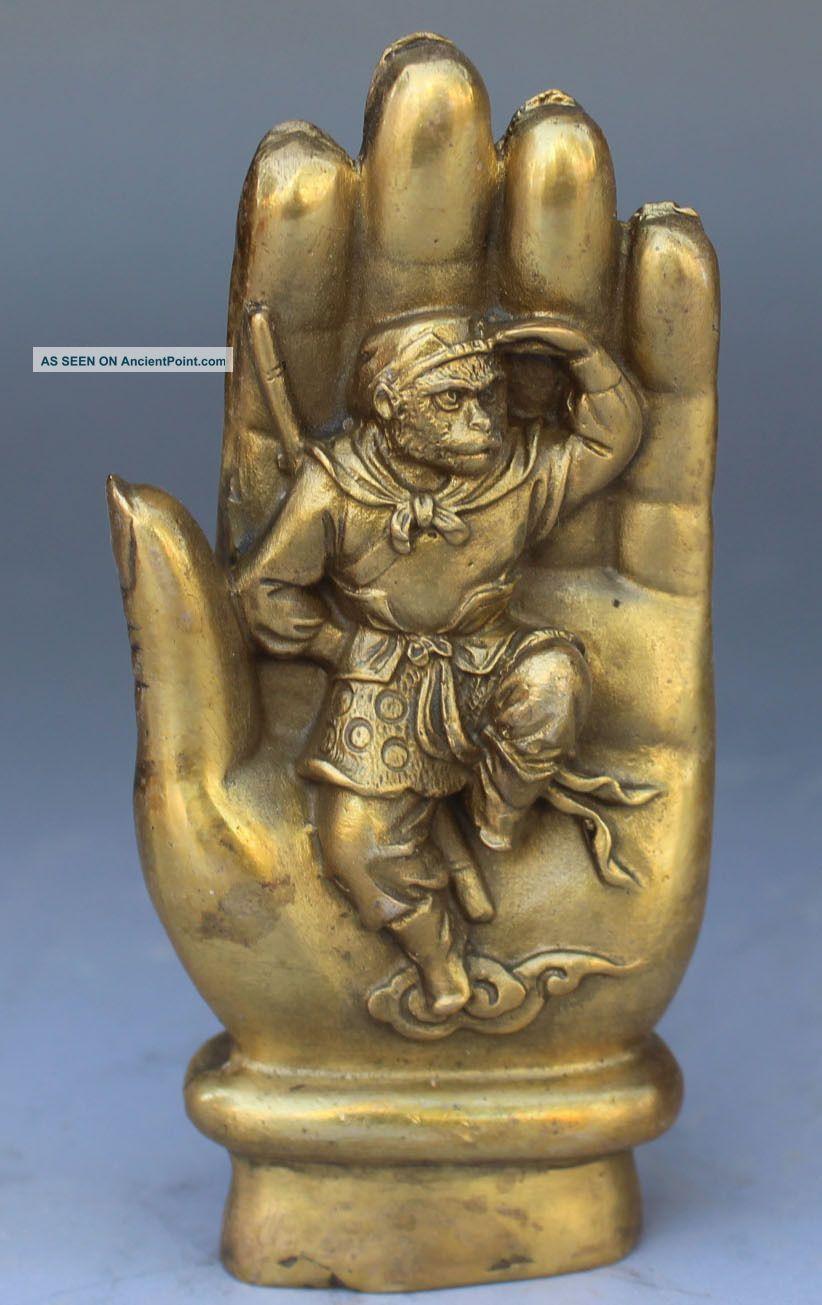 Chinese Bronze Sculpture Sun Wukong In The Tathagata Buddha ' S Hand Buddha photo