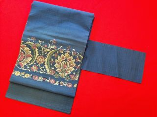 O - A50 Antiques Japanese Obi Belt Blue Silk Textiles Fabric Woven Art Nagoya photo