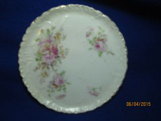 Vintage Porcelain Ceramic Trivet Hot Plate Tile Pink Roses Dresden Germany Exvc photo